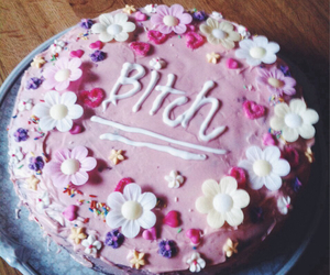 cake, bitch, and flowers image