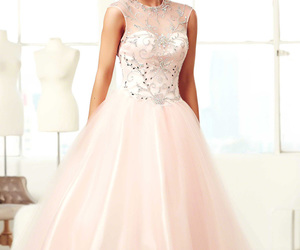 ball gown, beaded, and blush image