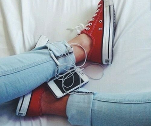 converse, red, and music image