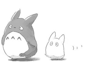 totoro, anime, and black and white image