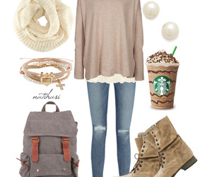 outfit, starbucks, and scarf image