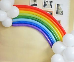 balloons, party decoration, and rainbow image