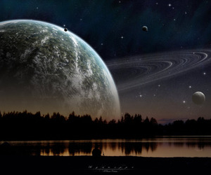 planet, saturn, and moon image