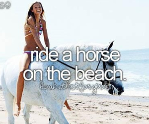 beach, girl, and horse image