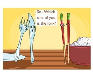 chopsticks, fork, and straight image
