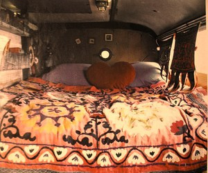 bed, heart, and hippie image