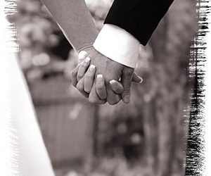 black and white, wedding, and holding hands image