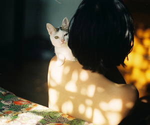 back, girl, and cat image