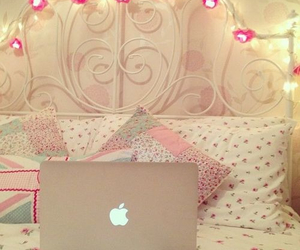 apple, pink, and bedroom image