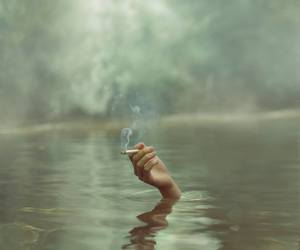 smoke, water, and cigarette image