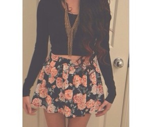 flowers, crop top, and outfits image