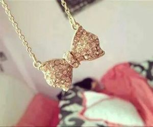bow, diamonds, and gold image
