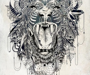 lion, art, and tattoo image