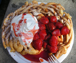 strawberry, food, and funnel cake image