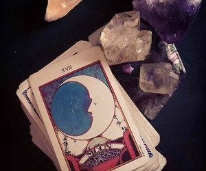 crystals, cards, and moon image