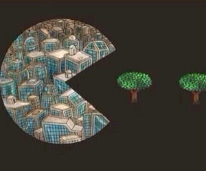 tree, city, and pacman image