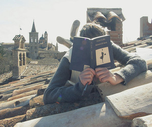 book, boy, and reading image