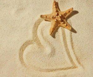 beach, heart, and sand image