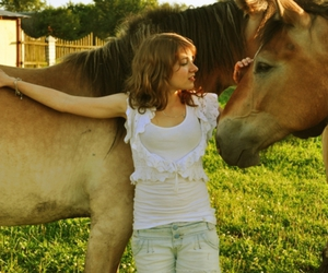 girl, summer, and horse image