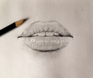 lips, draw, and girl image