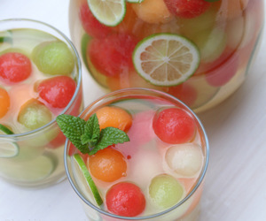fruit, melon, and drink image