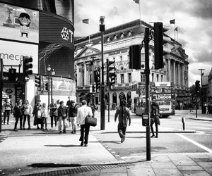 black and white, london, and piccadilly circus image