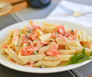 food, pasta, and salmon image
