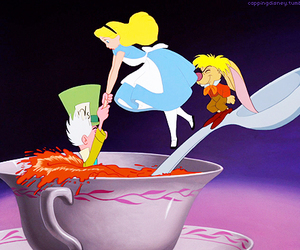 alice in wonderland, mad hatter, and march hare image