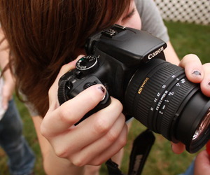 canon, camera, and girl image