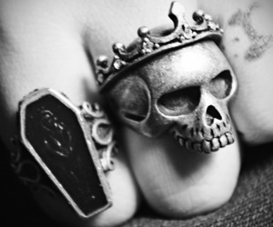 skull, ring, and black and white image