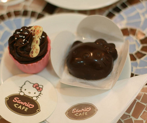 hello kitty, chocolate, and cupcake image