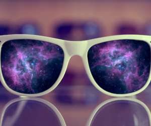 galaxy, glasses, and cool image