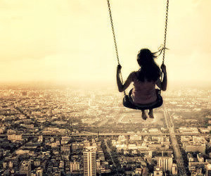 city, swing, and sky image