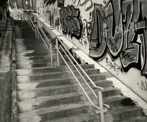 black and white, graffiti, and graffitis image