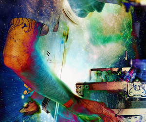 dubstep, electronica, and galaxy image