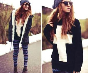 outfit, winter, and cross image