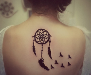 tattoo, bird, and dreamcatcher image