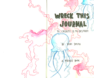 drawing, jelly fish, and wreck this journal image