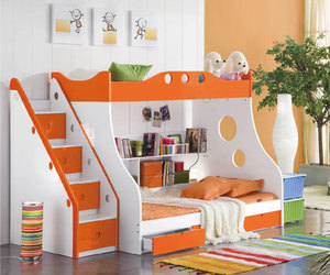 bed, bunk, and children image