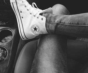 black and white, converse, and jeans image