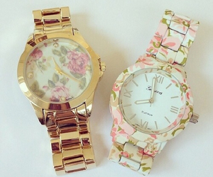 watch, flowers, and gold image