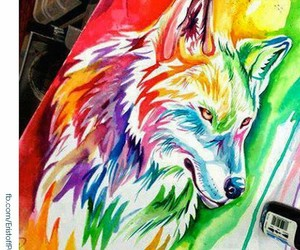 colorful, art, and wolf image
