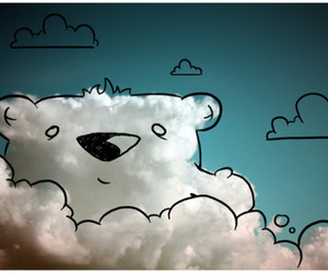 clouds, cute, and bear image