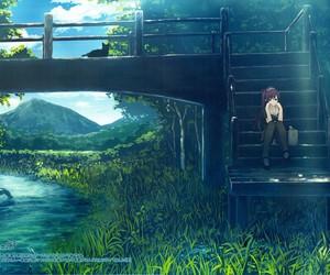 anime, anime girl, and river image
