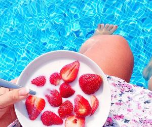 milk, pool, and strawberries image