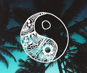 background, palm trees, and yin-yang image