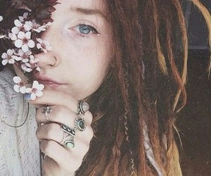 girl, flowers, and dreads image