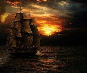 sea, ship, and sunset image