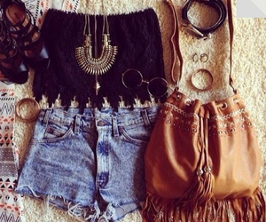bag, jeans, and jewlery image