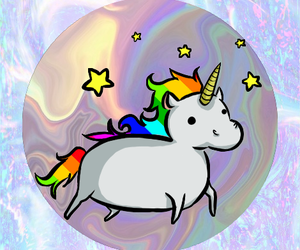 unicorn, rainbow, and stars image